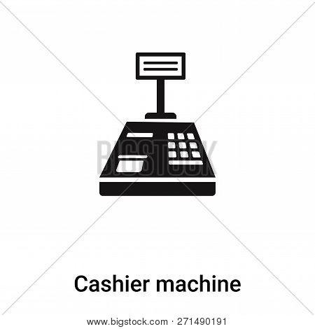 Cashier Machine Icon In Trendy Design Style. Cashier Machine Icon Isolated On White Background. Cash