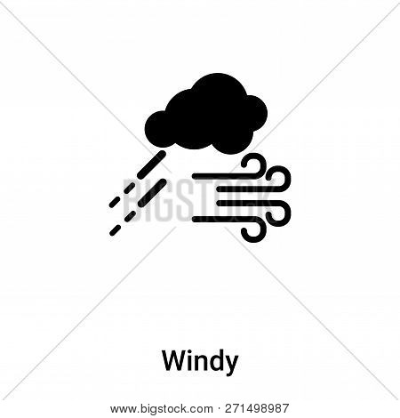 Windy Icon In Trendy Design Style. Windy Icon Isolated On White Background. Windy Vector Icon Simple