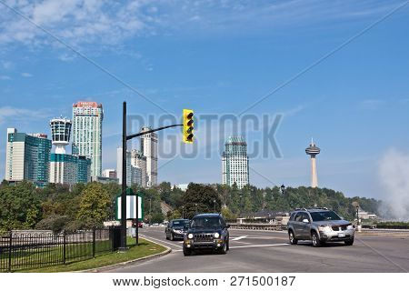 Niagara Falls, Ontario - Sept 25, 2017 - Horizontal Street View With A View Of The City And Skylon T