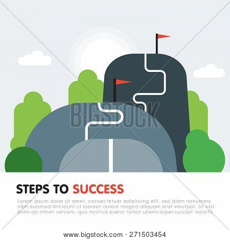 Steps To Success Concept. Next Level, Upgrade Reach Goal, Higher And Better, Motivation And Improvem