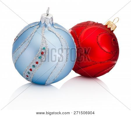 Blue And Red Christmas Decoration Baubles Isolated On White Background