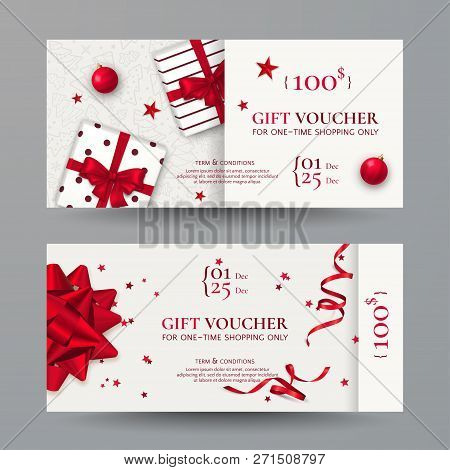 Vector Set Of Elegant Christmas Gift Vouchers With Realistic Red Bows, Gift Boxes, Toys, Ribbons, St
