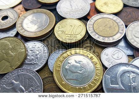 Close Up Top View Image Of Large Amount Of Old Money Coins Of Different Countries And Times Backgrou