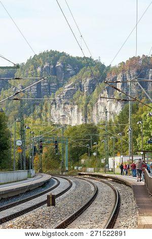 Rathen, Germany - October 04, 2018: The Station Of Rathen In The Elbe Sandstone Mountains. Rathen Is