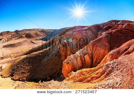 Red Mountains In Kyzyl-chin Valley, Also Called As Mars Valley. Altai Republic, Siberia, Russia