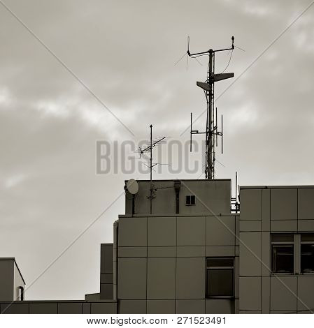 Antennas On The Roof Of An Office Building