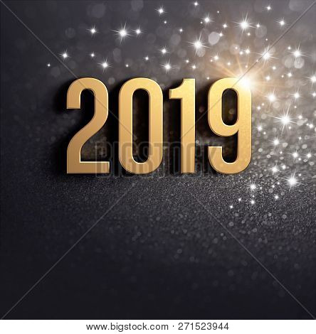 New Year 2019 Date Number Colored In Gold, On A Festive Black Background, With Glitters And Stars -