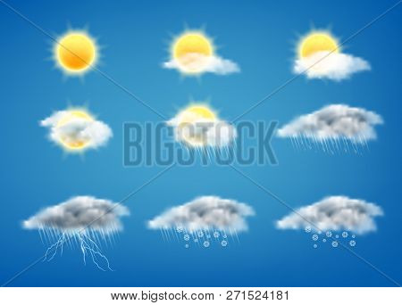 Vector Realistic Set Of Weather Forecast Icons For Web Interfaces Or Mobile Apps, Isolated On Blue B