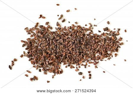 Raw Organic Cacao Nibs On A White Background.