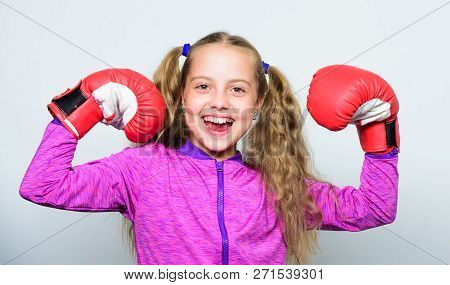 Strong Child Boxing. Sport And Health Concept. Boxing Sport For Female. Sport Upbringing. Skill Of S