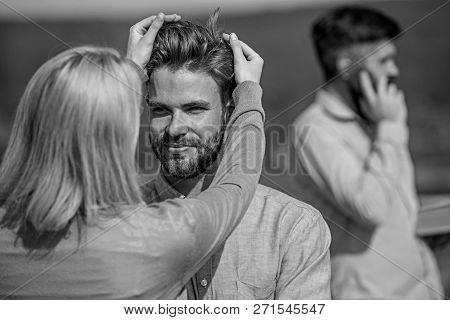 Face To Face Conversation Advantages Concept. Partners Glad To See Each Other. Couple Happy Flirting