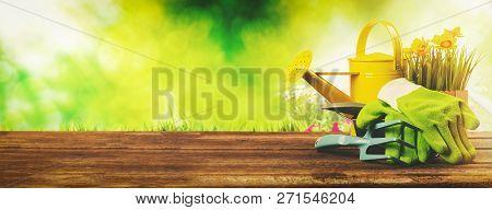 Gardening Banner - Gardener Tools On Green Garden Background