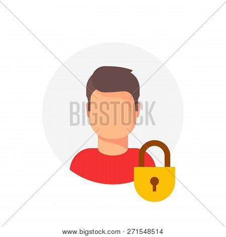 Personal Account Private Protection Or Locked Vector Icon, Flat Cartoon Person Profile Protected Wit