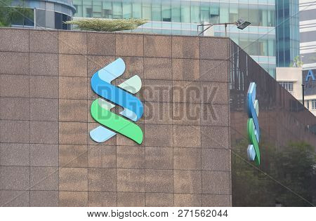 Singapore - November 16, 2018: Standard Chartered Bank. Standard Chartered Bank Is A British Multina
