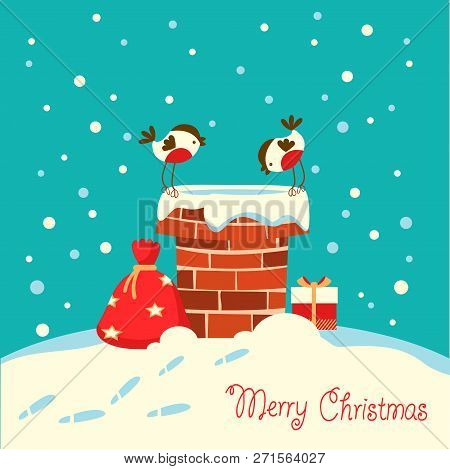 Christmas Card With Bullfinch Birds Sitting On The Chimney And Looking On Santa Claus