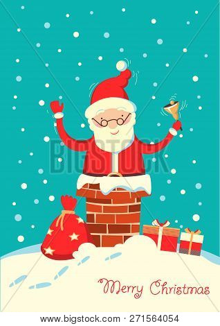Santa Claus In The Chimney In The Christmas Holiday Winter Night