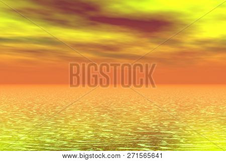 Fantasy  sunset over the sea - 3D rendering.