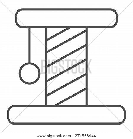 Cat Scratcher Thin Line Icon. Pet Toy Vector Illustration Isolated On White. Kitten Scratcher Outlin