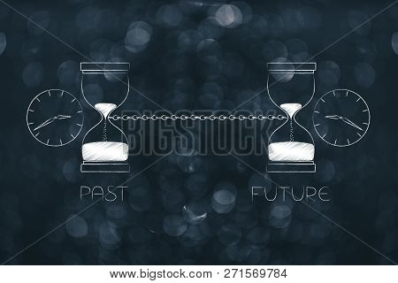 Time Passing By Conceptual Illustration: Past And Future Linked With A Chain With Hourlgass And Cloc