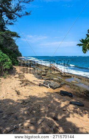 View Of The Coast Along Wailua, Kauai, Hawaii