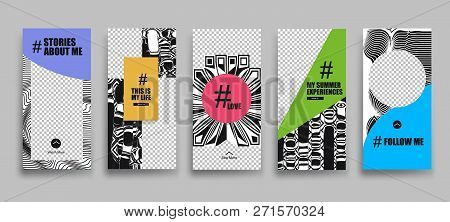 Set Of Creative Universal Stories Template In Trendy Style On Transparent Background For Social Medi