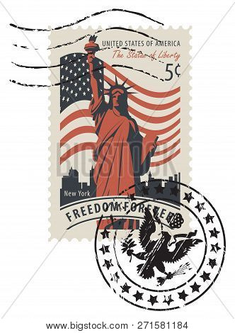 Vector Illustration Of A 5-cent Usa Postage Stamp With A Postmark In Retro Style. Postage Stamp With