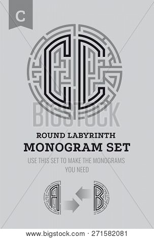 C Letter Maze. Set For The Labyrinth Logo And Monograms, Coat Of Arms, Heraldry, Abbreviation.