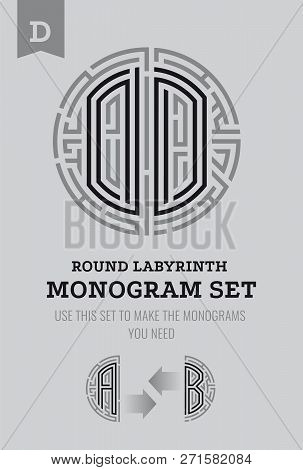 O Letter Maze. Set For The Labyrinth Logo And Monograms, Coat Of Arms, Heraldry, Abbreviation.