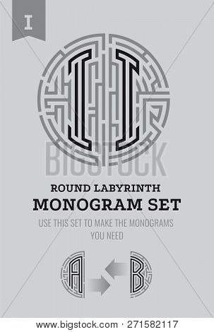 I Letter Maze. Set For The Labyrinth Logo And Monograms, Coat Of Arms, Heraldry, Abbreviation.