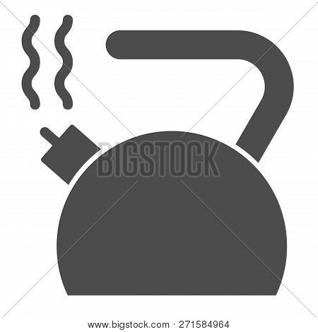 Kettle Solid Icon. Teakettle Vector Illustration Isolated On White. Teapot Glyph Style Design, Desig