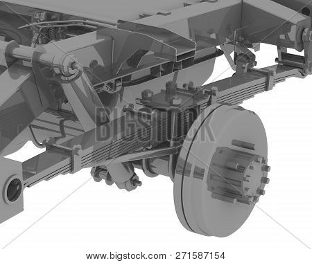 Fragment Of The Rear Suspension Of The Car. Three-dimensional Illustration Of A Fragment Of The Rear