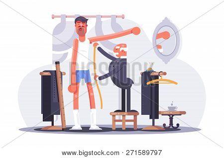Cartoon Tailor Taking Measures Flat Poster. Clothier