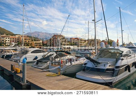 Yacht Marina In Adriatic.  Montenegro,  Bay Of Kotor, Tivat City. View Of Yacht Marina Of Porto Mont