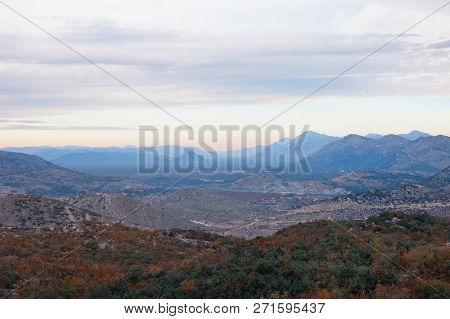 Mountain Landscape With Scenic Valley In The Dinaric Alps On A Cloudy  Autumn Day. Bosnia And Herzeg