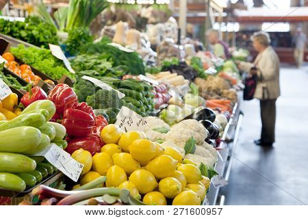 Fruit Market With Various Colorful Fresh Fruits And Vegetables.