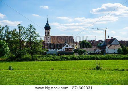 Panorama Of Dürrwangen Bei Blauen Himmel In Bavaria Germany