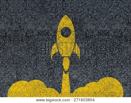 Rocket Launch Drawn With Paint On Road Asphalt. Concept Of Business Start-up, Boost Or Success