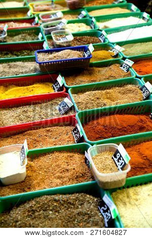 Indian Colored Spices At Anjuna Flea Market.