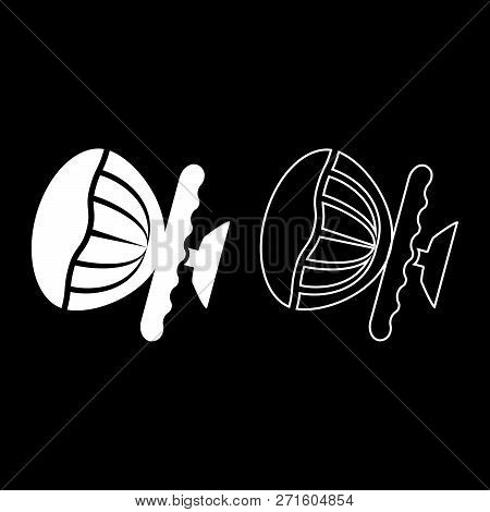 Airbag Sign Steering Wheel With Active Airbag Icon Set White Color Vector Illustration Flat Style Si