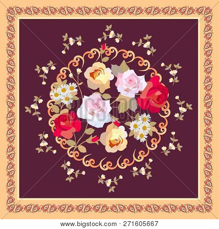Square Napkin, Pillowcase, Greetind Or Invitation Card With Bouquet Of Roses And Daisies In Round Fr