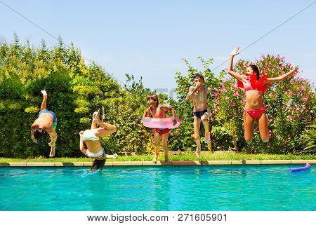 Kids Playing Pool Games During Backyard Party