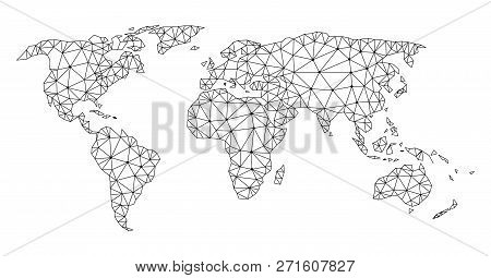 Polygonal Mesh Map Of World In Black Color. Abstract Mesh Lines, Triangles And Points With Map Of Wo