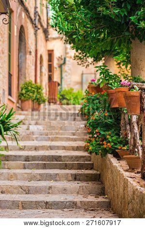 Beautiful Street At The Mediterranean Village Of Valldemossa On Majorca Spain