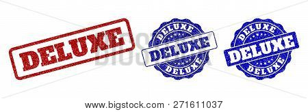 Deluxe Grunge Stamp Seals In Red And Blue Colors. Vector Deluxe Signs With Distress Effect. Graphic