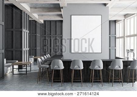 Gray Bar Interior, Gray Stools And Sofas, Poster