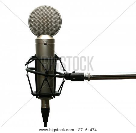 Studio microphone on stand isolated on white