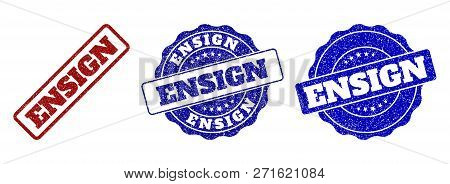 Ensign Grunge Stamp Seals In Red And Blue Colors. Vector Ensign Labels With Draft Surface. Graphic E