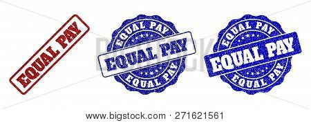 Equal Pay Grunge Stamp Seals In Red And Blue Colors. Vector Equal Pay Watermarks With Grunge Style.