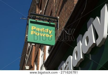 Derby, Derbyshire, Uk: October 2018: Paddy Power Bookmakers Sign