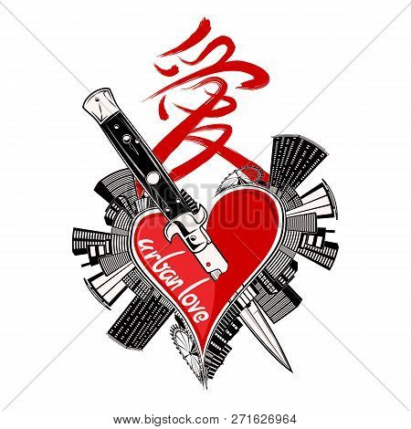 Vector Illustration Of The Heart Pierced With A Flick Knife And A Hieroglyph. A Hieroglyph - Love. C